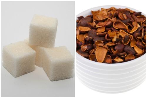 Сахар и скорлупа от кедровых орешков