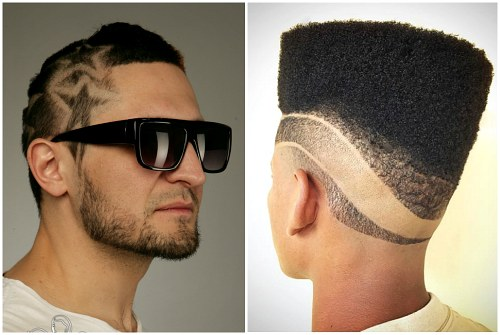 на мужских волосах