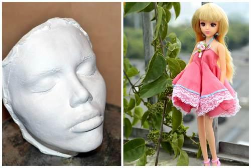 слепок лица для Русалочки и кукла